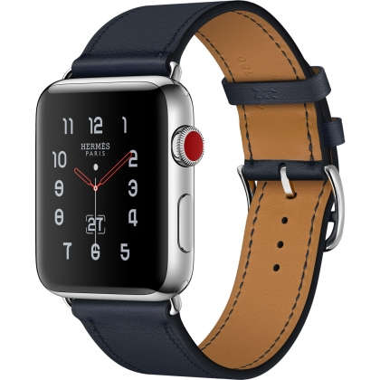 Apple Watch Hermès Series 3 GPS + Cellular 42mm Stainless Steel Case with Indigo Swift Leather Single Tour