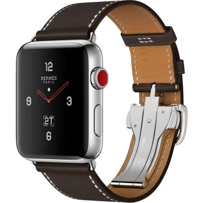 Apple Watch Hermès Series 3 GPS + Cellular 42mm Stainless Steel Case with Ébène Barenia Leather Single Tour Deployment Buckle