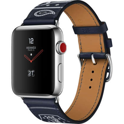 Apple Watch Hermès Series 3 GPS + Cellular 42mm Stainless Steel Case with Marine Gala Leather Single Tour Eperon d'Or
