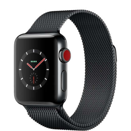 Apple Watch Series 3 GPS + Cellular 38mm Space Black Stainless Steel Case with Space Black Milanese Loop