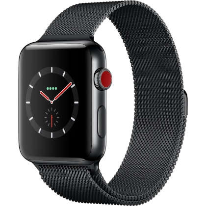 Apple Watch Series 3 GPS + Cellular 42mm Space Black Stainless Steel Case with Space Black Milanese Loop