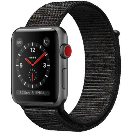 Apple Watch Series 3 GPS + Cellular 42mm Space Gray Aluminum Case with Black Sport Loop