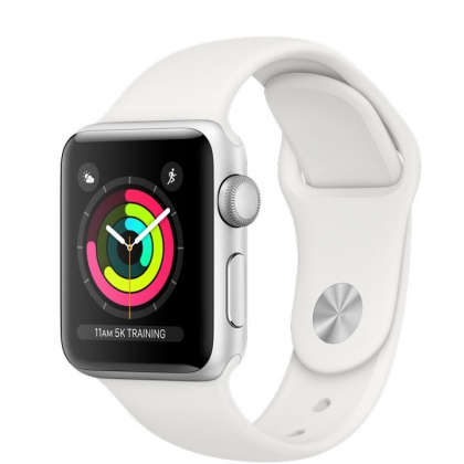 Apple Watch Series 3 GPS 38mm Silver Aluminum Case with White Sport Band