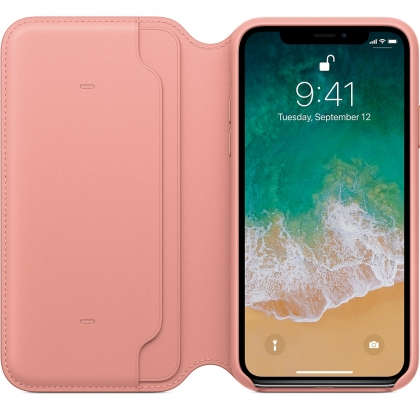 iPhone X Leather Folio - Soft Pink