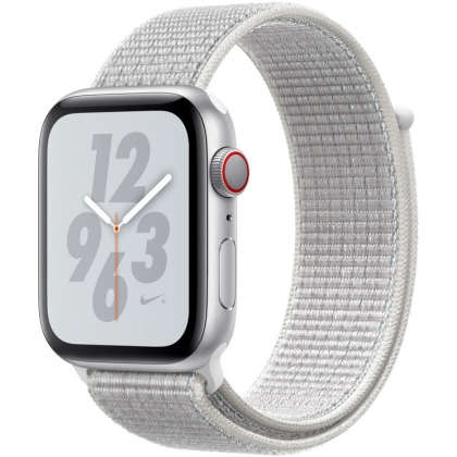 Apple Watch Nike+ Series 4 GPS + Cellular 44mm Silver Aluminum Case with Summit White Nike Sport Loop
