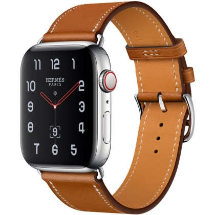 Apple Watch Hermès Series 4 GPS + Cellular 44mm Stainless Steel Case with Fauve Barenia Leather Single Tour