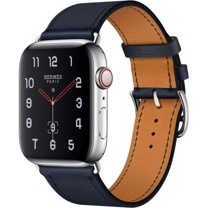 Apple Watch Hermès Series 4 GPS + Cellular 44mm Stainless Steel Case with Bleu Indigo Swift Leather Single Tour